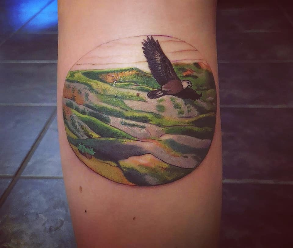 "Tattoo representation of ""home"" aka Saskatchewan"
