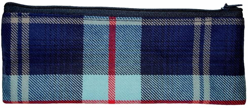 Plaid blue pencil case